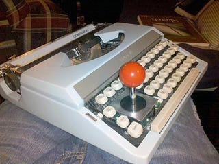 Illustration for article titled Typewriter Outfitted With Joystick Is The Only PC Gaming Accessory You Need