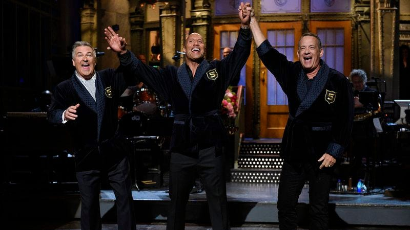 Alec Baldwin, Dwayne Johnson, Tom Hanks (Photo: Will Heath/NBC)