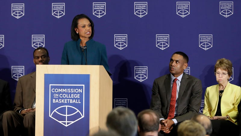 Illustration for article titled Condoleezza Rice's Useless Commission On College Basketball Gives Useless Recommendations