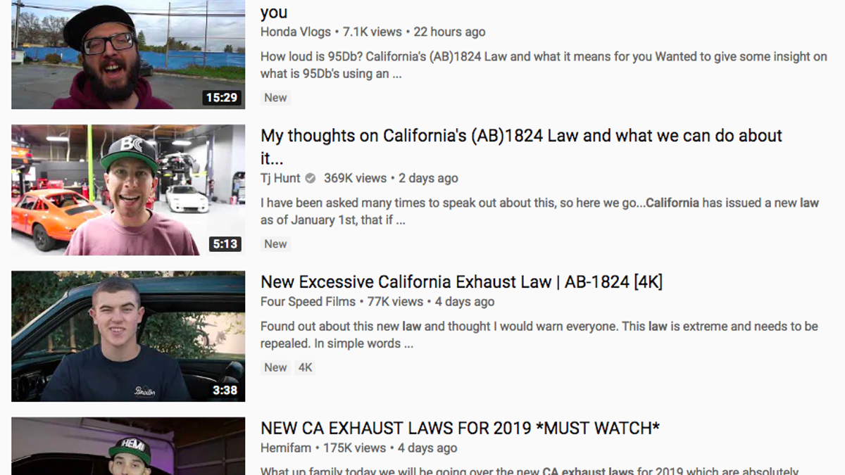 California Bill 1824's Exhaust Law, Explained