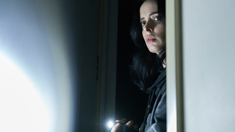 Krysten Ritter and her trusty flashlight make a grand return for Jessica Jones season 2.
