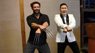 Illustration for article titled Hugh Jackman (as Wolverine) doing Gangnam Style with Psy (who has Adamantium claws)