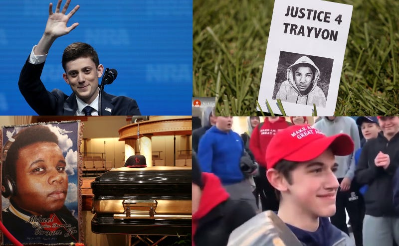 Clockwise from top left: Kyle Kashuv, a sign at a protest for Trayvon Martin. Nicholas Sandmann, the casket of Michael Brown Jr.