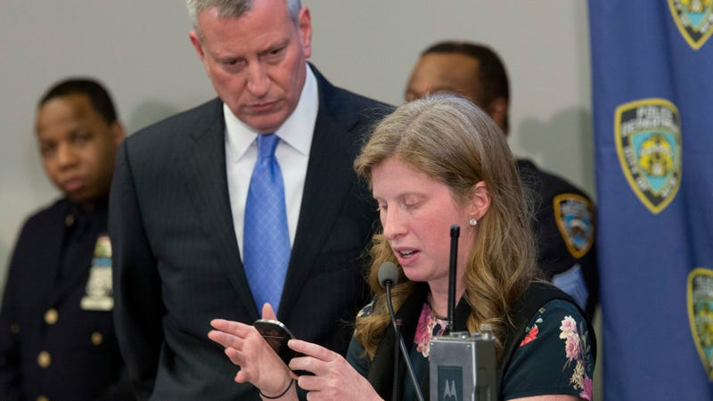 NYC Mayor Bill de Blasio, and NYPD Deputy Commissioner of Information Technology Jessica Tisch. Photo: AP