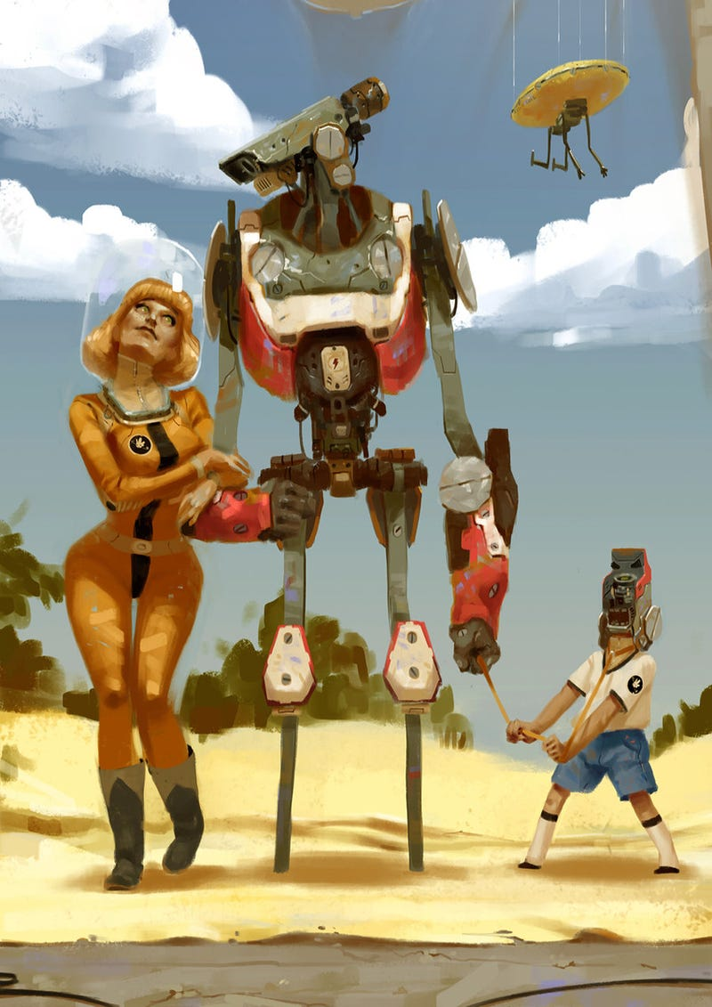 Illustration for article titled Concept Art Writing Prompt: A Beach Vacation with the Robot Family