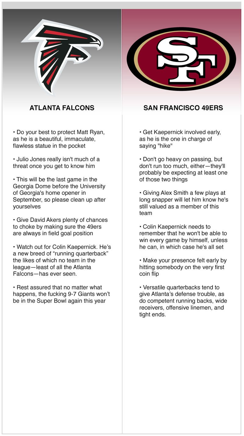 Illustration for article titled NFC Championship Game (Falcons vs. 49ers)