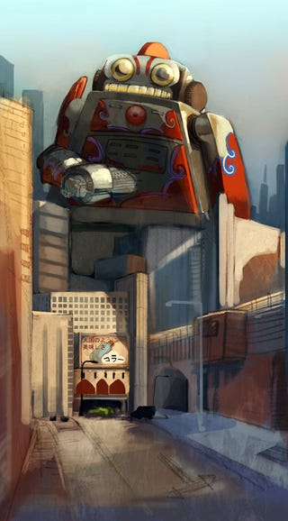 Illustration for article titled Giant Robots Always Have The Right Of Way On Any City Street