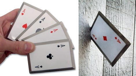 Watch a master magician slice an olive by throwing a playing card live out your gambit fantasies with a set of sharpened steel throwing cards reheart Gallery