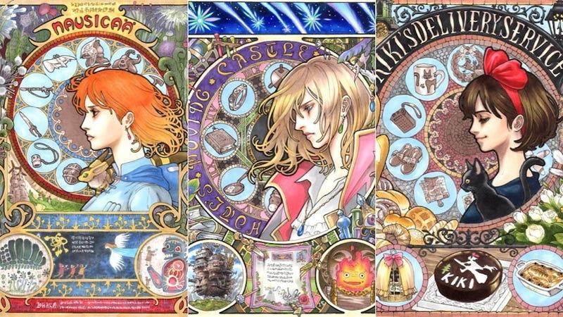Illustration for article titled Szecessziós képeken Mijazaki Hajao rajzfilmfigurái