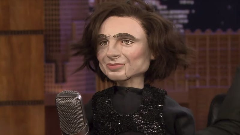 Illustration for article titled Jimmy Fallon bought that haunted Timothée Chalamet doll and is already putting it to work