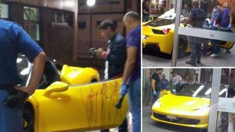 Illustration for article titled Ferrari Driver Mysteriously Shot In The Balls, Drives Into Emergency Room