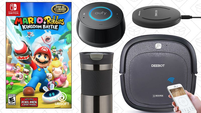 Illustration for article titled Today's Best Deals: Robotic Vacuum, $30 Alexa Speaker, Mario + Rabbids, and More