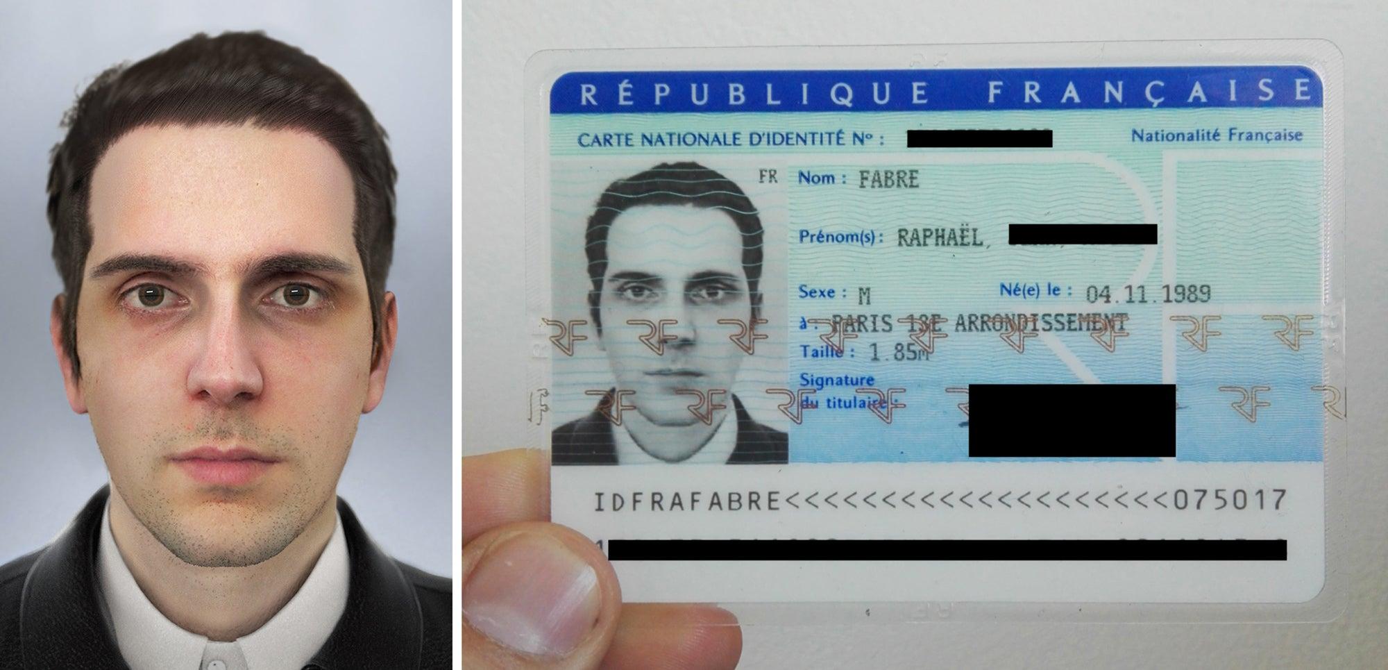 Says He Artist National Headshot Computer-generated Id A Using Received French Card