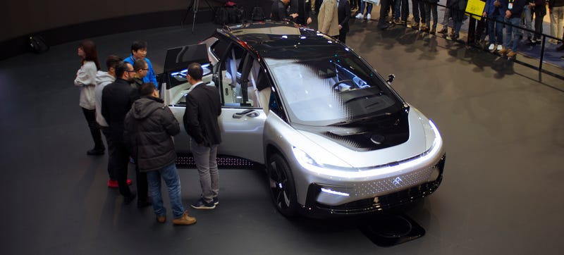An FF 91 prototype at the company's CES display stand earlier this month. Photo Credit: Raphael Orlove