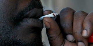 Medicinal-marijuana activist at a California protest in 2011 (Justin Sullivan/Getty Images)