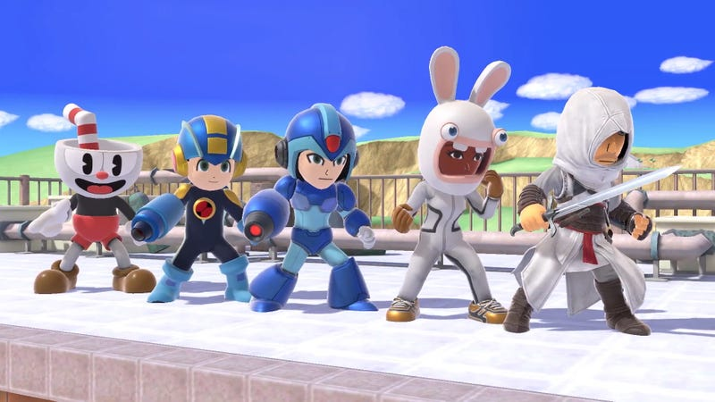 Illustration for article titled Super Smash Bros. Gets Cuphead, Assassin's Creed, Mega Man, And Rabbids Costumes