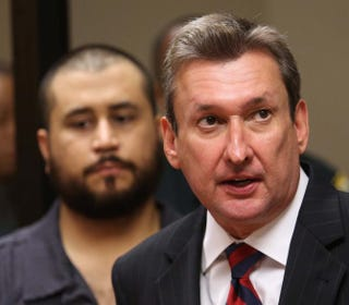 George Zimmerman with his lead attorney, Jeff Dowdy, during his first court appearance on charges including aggravated assault, stemming from a fight with his girlfriend.Joe Burbank-Pool/Getty Images
