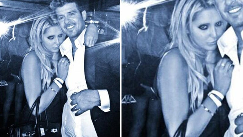 Illustration for article titled Robin Thicke Tongue-Kissed That Butt-Grab Girl, Said Wife Was 'Chill'