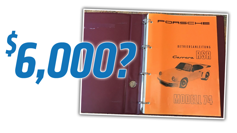 Illustration for article titled A Porsche 911 3.0 RSR Manual Just Sold for $6,000 Because Everything Is Really Stupid Now