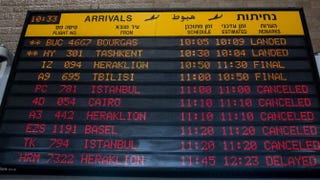The arrivals-gate board shows canceled flights at Terminal 3 at Ben Gurion Airport on July 24, 2014, in Tel Aviv, Israel.Andrew Burton/Getty Images