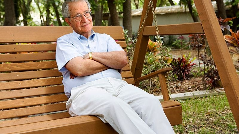 exhausted noam chomsky just going to try and enjoy the day for once