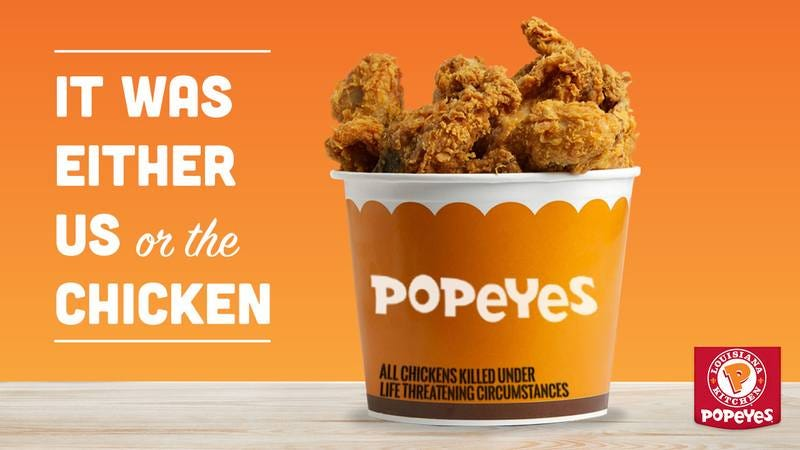 An ad for Popeye's Chicken.