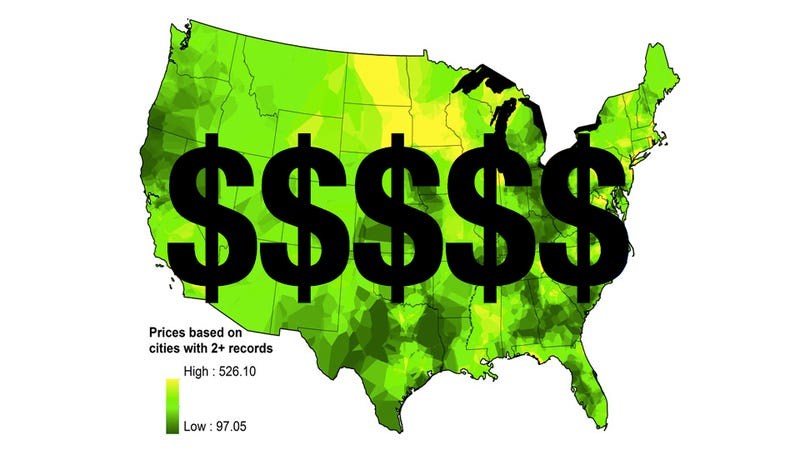 Illustration for article titled Map Proves You Are Paying Too Much For Marijuana