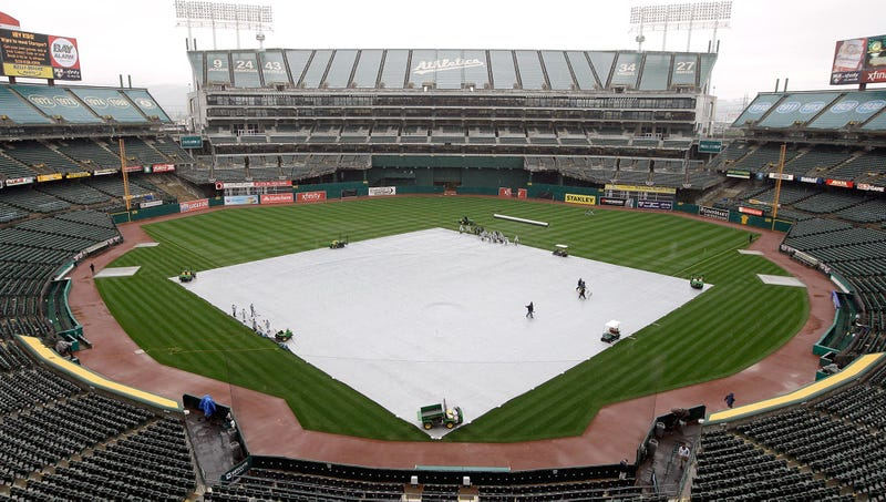 Illustration for article titled A's Unveil Groundbreaking New Tarp Renovation For Oakland Coliseum