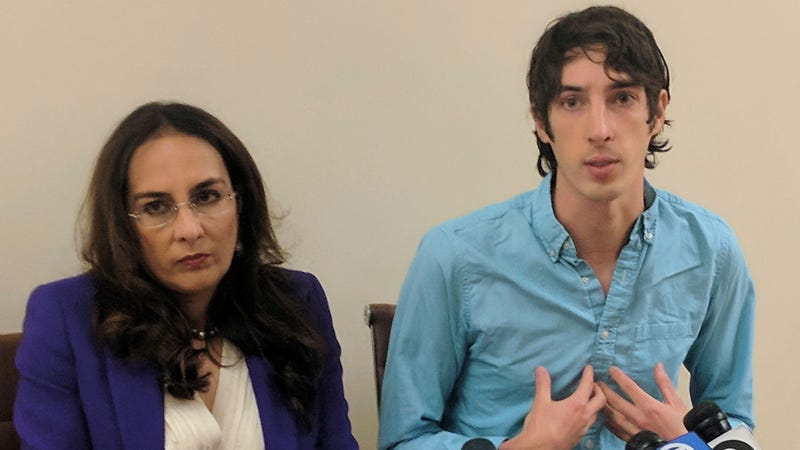 James Damore, right, a former Google engineer fired in 2017 after writing a memo about the biological differences between men and women, speaks at a news conference while his attorney, Harmeet Dhillon, listens, Monday, Jan. 8, 2018, in San Francisco. (AP)