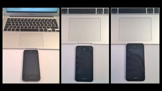 Illustration for article titled The iPhone 4 Fits Exactly Inside the MacBook Air's Lid Dent