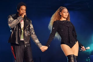 Jay-Z and Beyonce Knowles perform on stage during the 'On the Run II' tour opener at Principality Stadium on June 6, 2018 in Cardiff, Wales.