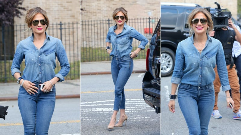 Illustration for article titled Jennifer Lopez Catches Fall's Highly Contagious Denim on Denim Virus