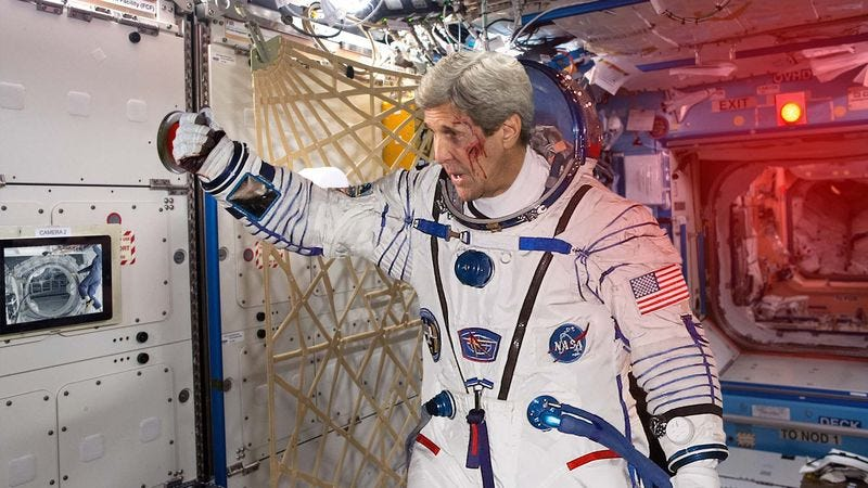 Illustration for article titled John Kerry Jettisons Russian Henchmen From International Space Station Airlock