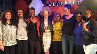 Members of the Sisters of Comedy lineup, including Producer Agunda Okeyo (fourth from right), at Carolines in New York City in November 2015Courtesy of Agunda Okeyo