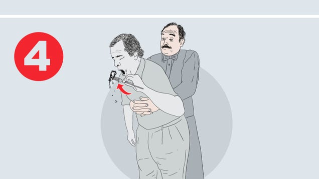Health Department Adds Steps To Heimlich Maneuver Poster Where Choking Victim Finishes Food They Coughed Up