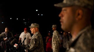 Lt. Gen. Mark Milley III Corps and Fort Hood commanding general, speaks to the news media on Wednesday about a shooting at the Army post in which four people, including the gunman, were killed.Drew Anthony Smith/Getty Images