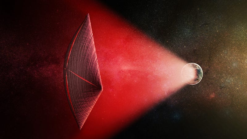 Artist's illustration of a light-sail powered by a radio beam (red) generated on the surface of a planet. On Earth, the leakage from such beams would appear as Fast Radio Bursts. (Credit: M. Weiss/CfA)