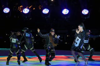 Missy Elliott (center) and Katy Perry perform during the Super Bowl halftime show at the University of Phoenix Stadium in Glendale, Ariz., Feb. 1, 2015.Christopher Polk/Getty Images