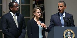 Robert Leon Wilkins, Cornelia Pillard and Barack Obama (Mark Wilson/Getty Images)