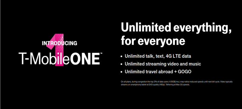 A T-Mobile advertisement for unlimited plans on its websiteT-Mobile Screenshot