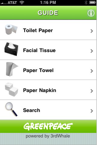 Greenpeace iphone app helps you find the best recycled for Best bathroom finder app