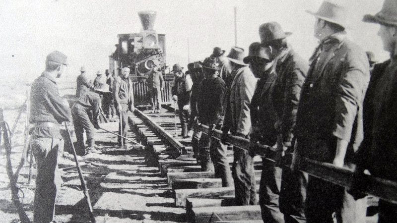 People working on the Transcontinental Railroad.