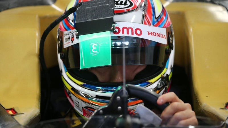 Illustration for article titled A Super Formula Team is Testing a New Heads-Up Visor Display