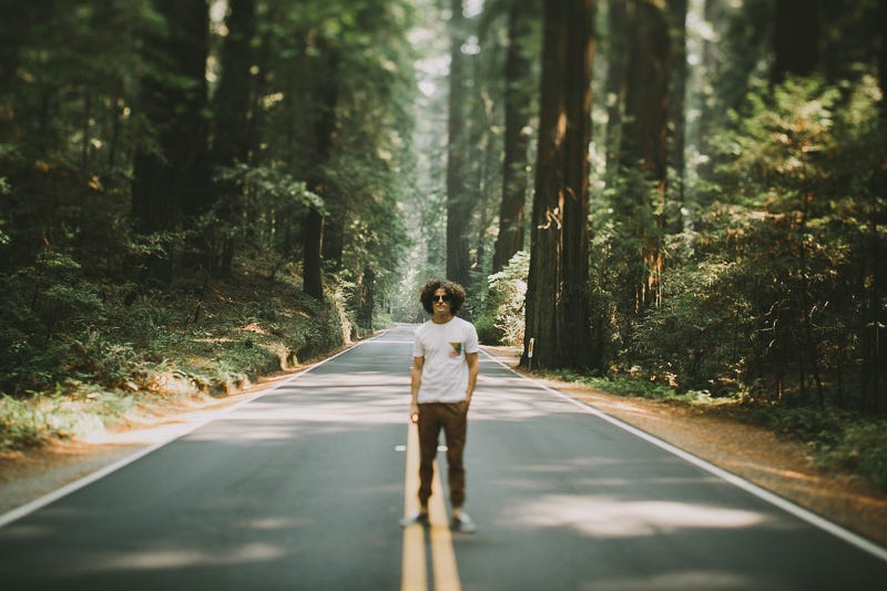 I know for a fact that the road that guys standing on has 55mph speed limit.know this because I've seen idiots like this when I used to drive the Avenue of the Giants alot (had to commute past it, so I often drove it)
