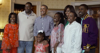 President Barack Obama and Michelle Obama with Kameria and her familyFacebook