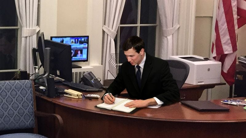 Jared Kushner is working on his to-do list in his office.