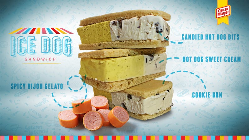 Illustration for article titled Oscar Mayer gives the people what they need: a mustard-and-hot dog ice cream sandwich