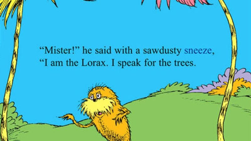 Illustration for article titled New Lorax to speak for the trees, SUVs