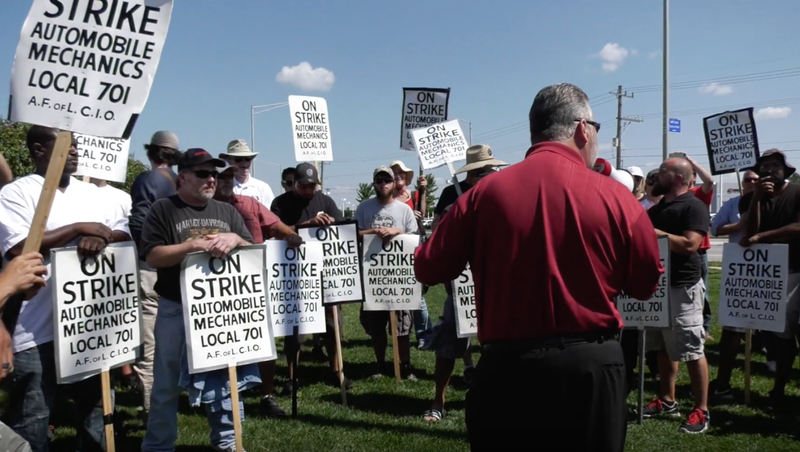 Footage of striking mechanics from a video upload on Aug. 25. Screen capture via the Machinists Union on YouTube