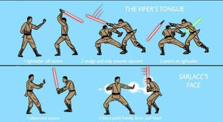Illustration for article titled Alternate Lightsaber techniques